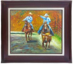"""24 X 20 Western Cowboy Oil Painting of Cowboys by ILuvBelleArte Outside Dimensions: (32 1/4"""" X 28 1/4"""")"""