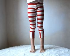 Kids Yoga Leggings Pants White and Red Stripes by MyLittleAura, $25.00