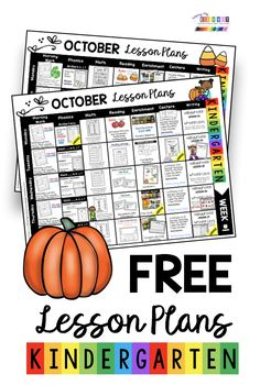 FREE Kindergarten Lesson Plans for October and Fall - printable lessons worksheets and activities