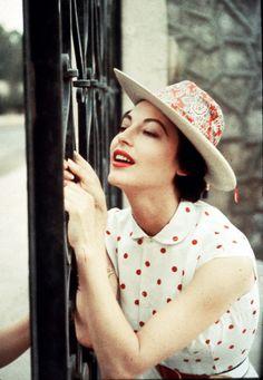 Ava Gardner in polka dot blouse