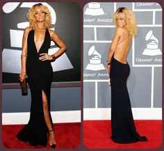 Rihanna : Black Dress   Grammy Inspired Green Wedding Dresses | Green Bride Guide