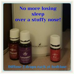 No more night time wake ups because of a runny or stuffy nose! Young Living Lavender, Thieves, and R. Stuffy Nose Essential Oils, Essential Oils For Cough, Essential Oil Diffuser Blends, Essential Oil Uses, Natural Essential Oils, Young Living Essential Oils Recipes Cold, Young Living Oils For Allergies, Natural Oils, Oil For Cough