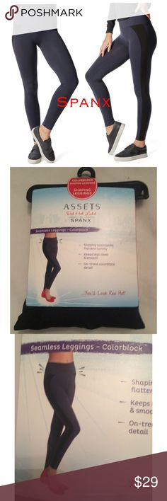 SPANX COLOR BLOCK SEAMLESS SHAPING LEGGINGS ASSETS These figure flattering, two-toned and oh-so comfortable leggings by ASSETS Red Hot Label by Spanx are sure to be worn on repeat  perfect for relaxing or on the go. Featured in Lapis Night and very dark black. $40 retail brand new in pack! Seamless yarns keep your legs sleek smooth Machine washable Nylon / spandex Imported SPANX Intimates & Sleepwear Shapewear