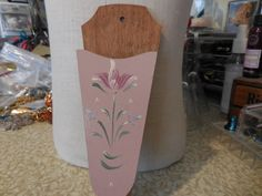 Vintage Pink Painted Flower Wooden Wall Pocket Knife Holder Wall Hanging Kitchen Dining Room 1960s to 1970s by KimsKreations17 on Etsy $9.99