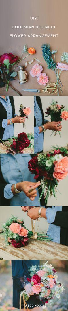 #DIY: Bohemian Bouquet Flower Arrangement! Make your own modern, colorful boho bouquet! {Project by Janie Medley of JM Flora; Photos by Tori Watson Photography}