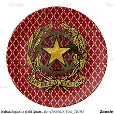 Italian Republic Gold Quatrefoil Personalize Plate