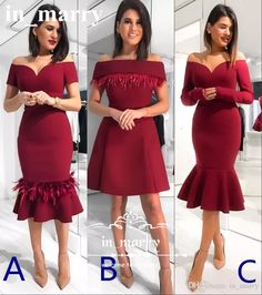 Sexy Burgundy Tea Length Mermaid Cocktail Dresses 2017 Plus Size Feather Ruffles Formal Evening Party Gowns Cheap Simple Vestido De Festa Red Cocktail Dresses Short Party Gowns 2017 Cocktail Dresses Online with $169.15/Piece on In_marry's Store | DHgate.com