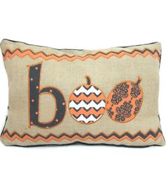 Halloween Decor | Halloween Pillow | Maker's Halloween Boo Pillow 12''x18''