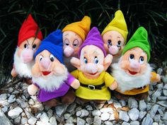 "Disney Snow White 8"" Dwarf Plush Dolls"