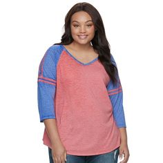 Juniors' Plus Size SO® Striped Burnout Raglan Tee, Teens, Size: 2XL, Dark Red