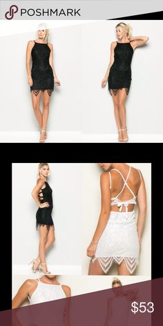 Black Lace Cross Back Dress * Sleeveless body-con lace detailed cross back dress. *  Different sizes available  S,M,L  Fabric: 100% Polyester  Model is wearing size ( S ) Thats so trendy Dresses