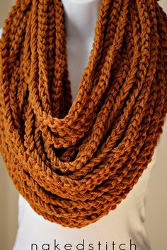 Pumpkin Spice Bulky Chain Scarf Crochet Scarf by nakedstitch, $45.00