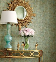 wallpaper by thibaut design, sunburst mirror, turquoise lamp, and gilded demilune table Gold Sunburst Mirror, Sun Mirror, Mirror Lamp, Brass Mirror, Wall Mirror, Gold Mirrors, Large Mirrors, Vanity Mirrors, Floor Mirror