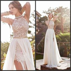 dresse on sale at reasonable prices, buy 2016 A Line Front Slit Chiffon Elegant Two Pieces Beach Wedding Dress 2016 Detached Train Bridal Gown vestido de noiva from mobile site on Aliexpress Now! Prom Dresses 2015, Backless Prom Dresses, Bridal Dresses, Bridesmaid Dresses, Backless Wedding, Prom Gowns, Dress Wedding, Dress Prom, Lace Wedding