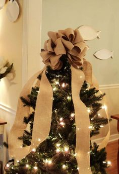 Well known christmas tree with burlap ribbon | For Sale – Burlap Red & Green  NC64