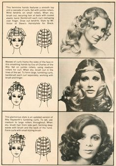 Hair setting pattern (bottom) -purple at front, blue on top, yellow on sides 1970s Hairstyles, Diy Hairstyles, Wedding Hairstyles, Updo Hairstyle, Vintage Hairstyles Tutorial, Wedding Updo, Hairstyle Ideas, Curly Hair Styles, Natural Hair Styles