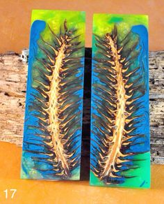 Here is set of Pine Cone knife scales I've finished, triple green  the neon green glows in the dark.  Never lose your knife in the dark!  1 1/2 x 3/8 x 5