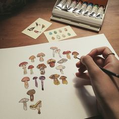 Painting a miniature mushrooms and toadstools piece #mushrooms #painting #illustration #watercolour #ink