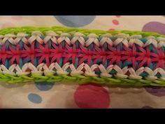 """Orchidea"""" Bracelet on Rainbow Loom Rainbow Loom Tutorials, Rainbow Loom Patterns, Rainbow Loom Creations, Rainbow Loom Bands, Rainbow Loom Bracelets, Loom Knitting Patterns, Loom Band Bracelets, Rubber Band Bracelet, Loom Craft"""