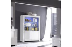 Amalfi Four Door Display Vitrine with LED Spots - White (Sideboards & display cabinet) Furnishings, Tall Cabinet Storage, Cabinet, Furniture, Door Displays, Display Cabinet, Furniture Collections, White Sideboard, Dining Room Essentials