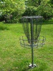 Disc golf or Frisbee Golf is a flying disc game, as well as a precision and accuracy sport, in which individual players throw a flying disc at a target. Think Golf but with a Frisbee. You might be able to find actual Frisbee golf course in your community or you can make your own.
