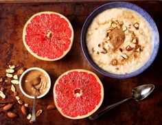 Grapefruit Brulee and Oatmeal with Almond Butter, Buckwhet honey and Chopped Almonds