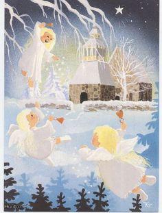 Kaarina Toivanen Christmas Greetings, Christmas Cards, Guardian Angels, Art Boards, Illustrators, Cute Pictures, Glass Art, Whimsical, Illustration Art