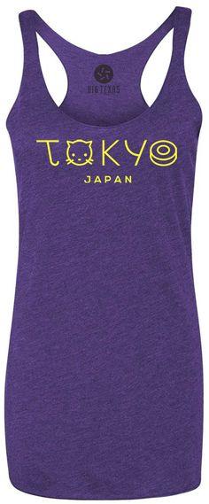 Tokyo City Japan (Yellow) Tri-Blend Racerback Tank-Top