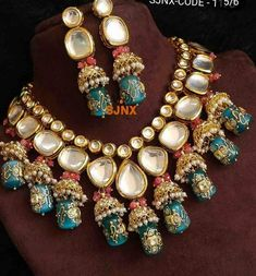 Royal Look American Diamond Necklace Set – FashionVibes indianjewelrysets Indian Jewelry Earrings, Indian Jewelry Sets, Fancy Jewellery, Jewelry Design Earrings, Indian Wedding Jewelry, Stylish Jewelry, Necklace Designs, Fashion Jewelry, Bridal Jewellery