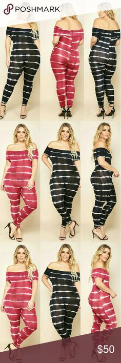 "PLUS SIZE OFF SHOULDER TIE-DYE STRIPE JUMPSUIT A plus size bodycon jumpsuit with an off-shoulder neckline and a fold over flounce. Features skinny pants. Tie-dye print all over. - 63% Rayon 33% Polyester 4% Spandex  - Machine Wash Cold  - Imported MODEL - Model is wearing size 1X  - Model is 5'11"" / Bust: 42"" / Waist: 35"" / Hip: 49"" Pants Jumpsuits & Rompers"