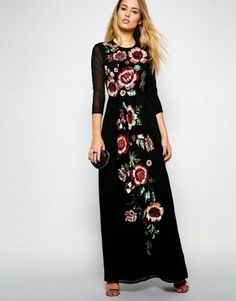 Needle & Thread Floral Scatter Maxi Dress asos would love this one looks amazing Hoco Dresses, Evening Dresses, Girls Dresses, Dresses With Sleeves, Church Dresses, Mission Clothing, Modest Fashion, Hijab Fashion, Modest Outfits