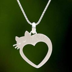 Lovestruck Cat Cat and Heart Thai 925 Sterling Silver Pendant Necklace