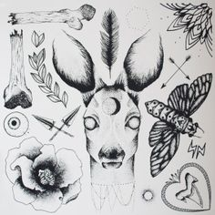 Dot Work Deer Tattoo Flash Screenprint by ANTIPRISM on Etsy, £15.00
