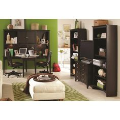 Aspenhome E2 Midtown Two-Person Dual T Curved Desk with Storage Hutch Combination - Belfort Furniture - L-Shape Desk Washington DC, Northern...