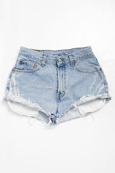 'Sienna' Vintage Rolled Hem Denim High-Waist Shorts - S/M - 10084-110