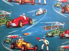 Vintage Wrapping Paper  Racing Cars  Full sheet by NapaHomestead, $6.00