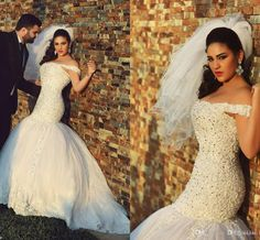 Glamorous Off-the-Shoulder Mermaid Wedding Dresses Beaded Crystals Beading Luxury Wedding Gowns Lace Appliques Plus Size Wedding Dresses Online with $204.82/Piece on Xzy1984316's Store | DHgate.com