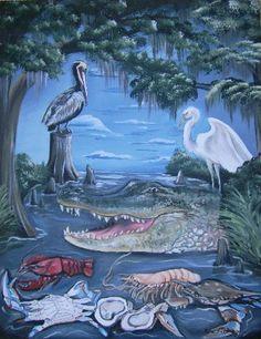 Lori Gomez Original Paintings for Sale Louisiana Swamp, Louisiana Art, Louisiana Seafood, Canvas Art For Sale, New Orleans Art, Art Stand, Original Paintings For Sale, Tin Art, Culture