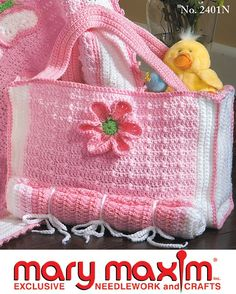 Adorable diaper bag to crochet using worsted weight yarn.