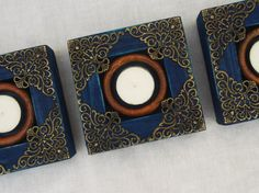 Set Of Three 3 Moroccan Inspired Blue Wooden by RegalosRusticos
