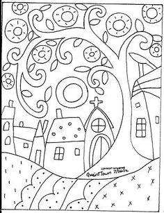 Quaint Town rug hook paper pattern...