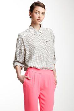 Silk Houndstooth Print Pleated Pocket shirt