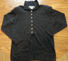 Carlisle Sport Cashmere Silk Blend Dark Gray Sweater Sz M Semi Cardigan w/Colla #CarlisleSport #Collared