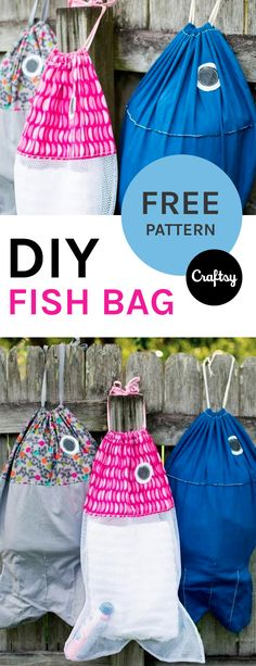 Cute, useful and easy! These Fish-shaped Bags are a must-make beginner sewing project. Get the free pattern at Craftsy.