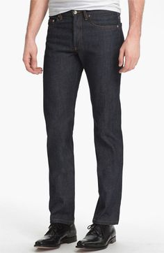 These are the only raw slim selvedge jeans I can find in my size. GRRRR A.P.C. New Standard Selvedge Slim Straight Leg Jeans (Indigo) | Nordstrom | $185.00
