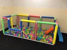 Home-made ball pit for kid play
