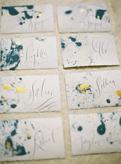 Make These Pretty DIY Marbled Place Cards For Your Next Party marbled paper door decs- could be a great opportunity to have residents customize their own door decs for the spring. Wedding Stationary, Wedding Invitations, Invites, Wedding Name, Diy Wedding Place Cards, Wedding Pins, Wedding Ideas, Paper Place, Door Decs