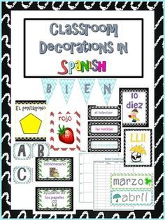 Classroom decorations, labels and signs for the bilingual, dual language or Spanish classroom!