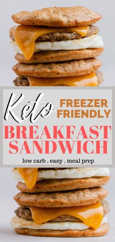 Keto Breakfast Sandwich Recipe - A key to staying successful on the keto diet is preparation. Always be prepared with a delicious keto breakfast by having a stash of these keto McMuffins in the freeze Quick Keto Breakfast, Freezer Breakfast Sandwiches, Breakfast On The Go, Breakfast Recipes, Breakfast Ideas, Brunch Recipes, Mexican Breakfast, Breakfast Tacos, Breakfast Cereal