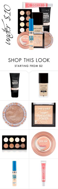 """""""Spring Beauty: Dewy Skin at the Drugstore + Tutorial"""" by so-on-and-so-forth on Polyvore featuring beauty, Maybelline, Charlotte Russe and NYX"""